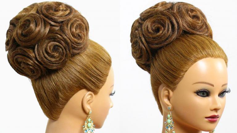 شینیون گل رز برای موی نیمه بلند ویژه عروس با اکستنشن